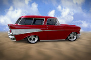 Wheels Digital Art Prints - 57 Belair Nomad Print by Mike McGlothlen