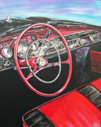 Steering Painting Posters - 57 Chevy Poster by Diann Baggett