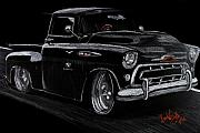 Vehicle Drawings Posters - 57 Chevy Truck Poster by Beau Van Sickle