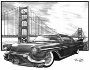 Charcoal Car Posters - 57 Fat Cad Poster by Peter Piatt