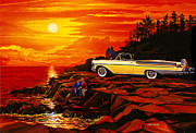 Cruiser Prints - 57 Merc Sunset Print by Bruce Kaiser