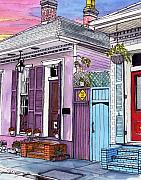 New Orleans Drawings - 59  French Quarter House with Red Door and Sunset by John Boles