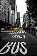 Big 5 Digital Art Prints - 5th Avenue Yellow Cabs Print by Hayden Highland