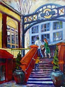 Steps Painting Originals - 5th Street Market  by Margaret  Plumb