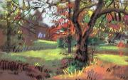 Autumn Foliage Pastels Prints - Across the Creek Print by Donald Maier