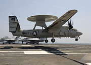 Enterprise Photo Framed Prints - An E-2c Hawkeye Lands Aboard Framed Print by Stocktrek Images
