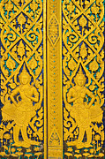 Wood Reliefs Metal Prints - Antique Thai temple mural patterns Metal Print by Kanoksak Detboon