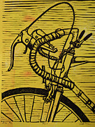 Lino Drawings Posters - Bike 2 Poster by William Cauthern