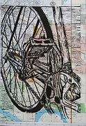 Lino Drawings Framed Prints - Bike 3 Framed Print by William Cauthern