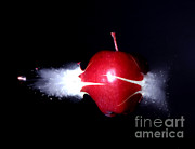 Apple Framed Prints - Bullet Hitting An Apple Framed Print by Ted Kinsman