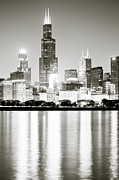 Chicago Illinois Posters - Chicago Skyline at Night Poster by Paul Velgos
