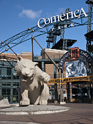 Baseball Art Print Framed Prints - Comerica Park Framed Print by Cindy Lindow