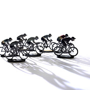 White Background Art - Cyclists by Bernard Jaubert