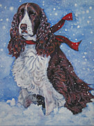 Spaniel Puppy Paintings - English Springer Spaniel by Lee Ann Shepard