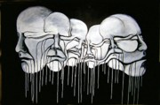 Drips Paintings - 6 Faces by Stephen  Barry