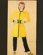 Black Top Drawings Prints - Fashions of the 1940s Print by Yvette Pichette
