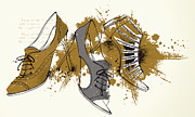 Shoelace Framed Prints - Feminine Shoes Framed Print by Eastnine Inc.