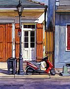 New Orleans Drawings - 6  French Quarter House with Scooter by John Boles
