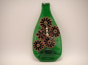 Painted Wine Glass Glass Art Originals - Glass Clock by ALEXANDR and NATALIA GORBACHEV