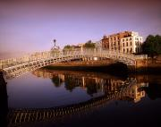 City Skylines Framed Prints - Hapenny Bridge, River Liffey, Dublin Framed Print by The Irish Image Collection