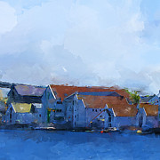 Town Center Prints - Haugesund Harbour Print by Michael Greenaway