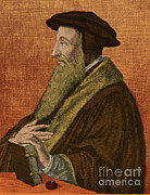 Colorized Prints - John Calvin, French Theologian Print by Photo Researchers