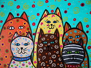 Kitten Prints Posters - 6 Kitties Poster by Pristine Cartera Turkus