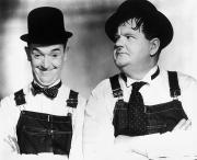 Moustache Framed Prints - Laurel And Hardy Framed Print by Granger