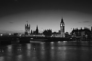 Reflections In River Framed Prints - London  Skyline Big Ben Framed Print by David French