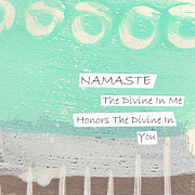 White Photo Posters - Namaste Poster by Linda Woods