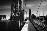 Lifebelt Framed Prints - Pedestrian Suspension Footbridge The Greig Street Bridge Over The River Ness Inverness Highland Scot Framed Print by Joe Fox