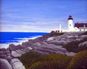 Pemaquid Lighthouse Painting Framed Prints - Pemaquid Point Light Station Framed Print by Frederic Kohli