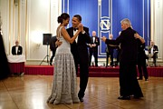 Dancing Couples Posters - President And Michelle Obama Dance Poster by Everett