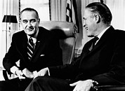 Transitions Posters - President Lyndon Johnson Meeting Poster by Everett