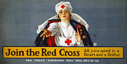 Lithograph Framed Prints - Red Cross Poster, 1917 Framed Print by Granger