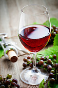 White Grape Photos - Red wine by Kati Molin