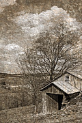 Rustic Hillside Barn Print by John Stephens
