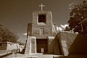 Crucifix Art Photo Posters - Santa Fe - San Miguel Chapel Poster by Frank Romeo