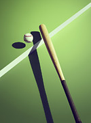 Baseball Bat Metal Prints - Sports Shadow Metal Print by Kelvin Murray