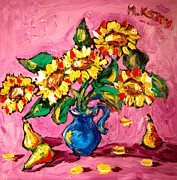 Snow Tree Prints Painting Prints - Sunflowers Print by Mark Kazav