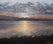 Sunset Greeting Cards Painting Posters - Sunset Poster by Patrick J Murphy