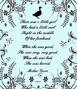 Mother Goose Prints - There Was A Little Girl Print by Marian Cates
