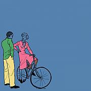 Vintage Bike Couple Print by Karl Addison