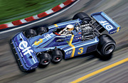 Motorsports Posters - 6 Wheel Tyrrell P34 F-1 Car Poster by David Kyte