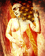 American Flag Mixed Media Prints - Winsome Woman Print by Chris Andruskiewicz