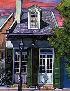 New Orleans Drawings - 60  Red Sky with Green French Quarter House by John Boles
