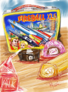 Fireball Framed Prints - 60s Lunch Box Framed Print by Russell Pierce