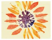 Lino Cut Paintings - 60s Sunflower by Annie Alexander