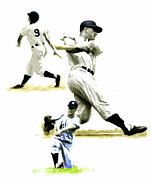 New York Drawings Framed Prints - 61      Roger Maris Framed Print by Iconic Images Art Gallery David Pucciarelli