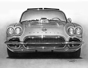Graphite Framed Prints - 62 Corvette Framed Print by Tim Dangaran